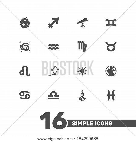 Set Of 16 Astrology Icons Set.Collection Of Horoscope, Archer, Scales And Other Elements.
