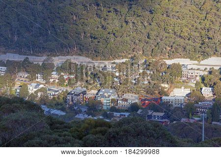 Thredbo Village Viewed From Above. Mount Kosciuszko National Park, Australia