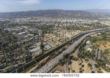Aerial view of Burbank, the Ventura 134 Freeway and the Los Angeles Equestrian Center in Griffith Park.