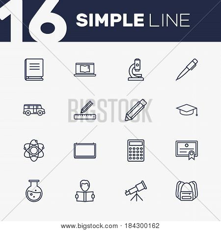 Set Of 16 Science Outline Icons Set.Collection Of Test Tube, Bus, Calculator And Other Elements.