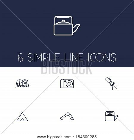 Set Of 6 Picnic Outline Icons Set.Collection Of Pocket Torch, Teapot, Penknife And Other Elements.