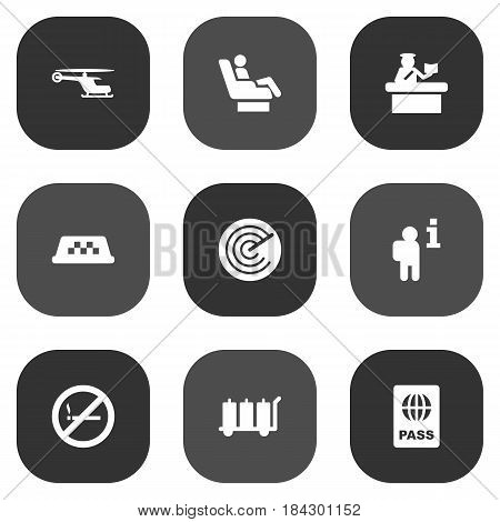 Set Of 9 Airplane Icons Set.Collection Of Passport, Cab, Forbidden And Other Elements.