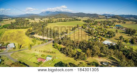Australian Countryside - Meadows, Pastures, And Hills Aerial Panorama. Myrtleford, Victoria, Austral