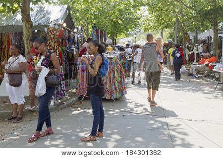 Asheville North Carolina USA - September 9 2016: The 2016 Goombay Festival a three day festival that celebrates the music food and culture of people of African and Caribbean heritage held in downtown Asheville NC