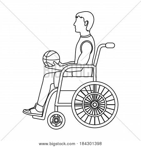 Basketball player disabled.Basketball single icon in outline style vector symbol stock illustration .