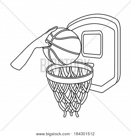 Hand with a ball near the basket.Basketball single icon in outline style vector symbol stock illustration .