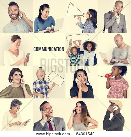 Studio People Collage Communication Concept