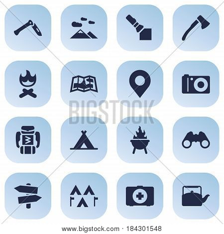Set Of 16 Adventure Icons Set.Collection Of Bbq, Jackknife, Tent And Other Elements.