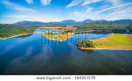Beautiful Lake Buffalo Aerial Panorama. Victoria, Australia