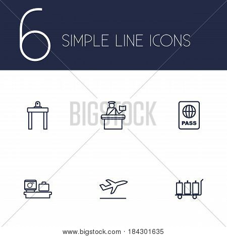 Set Of 6 Aircraft Outline Icons Set.Collection Of Passport Controller, Luggage Check, Flight And Other Elements.
