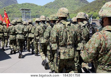 Kagawa, Japan - April 23 2017: Japanese soldier marching orders at the Zentuji military base, Japan Self Defense Forces