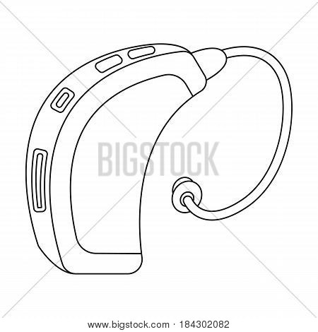 Hearing aid.Old age single icon in outline style vector symbol stock illustration .