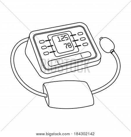 Medical tonometer.Old age single icon in outline style vector symbol stock illustration .