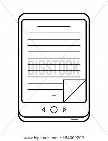E-book line art, simple gadget icon for web application, outline vector pictogram isolated on a white background, electronic version of a traditional print book