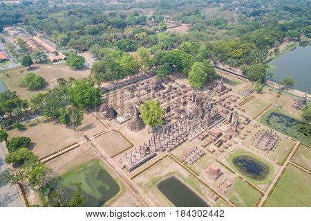 Sukhothai Historical Park in Sukhothai province Thailand. Aerial view from flying drone