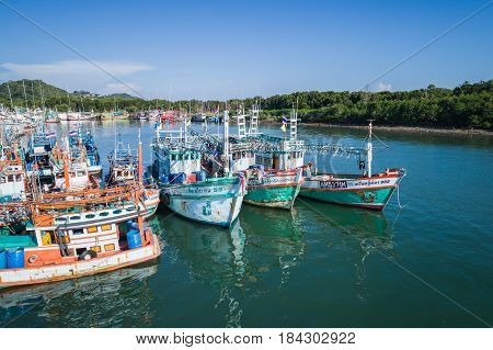 PHUKET THAILAND - APRIL 16 : The big fishing boats at the harbor in Phuket province to transport fish from the boat to the market on April 16 2017 in Phuket Thailand.