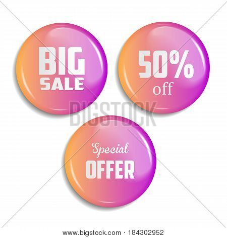 blank red glossy badge or web button. vector illustration