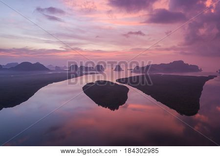 Rock Mountain In Sunrise Time At Phang-nga Bay Southern Of Thailand