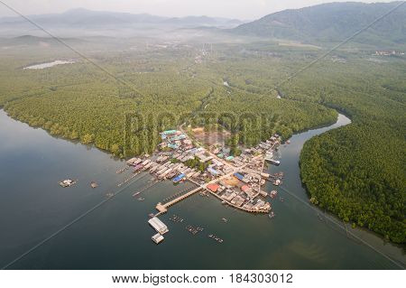 Top view traditional fisherman village