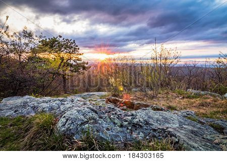 Sunset at Sunrise Mountain overlook in Stokes State Forest, New Jersey