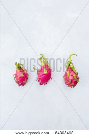 Pitahaya on a light background. Exotic fruits. Copyspace
