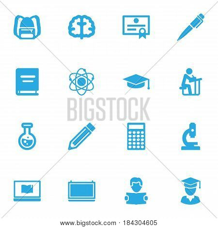 Set Of 16 Science Icons Set.Collection Of Student, Molecule, Blackboard And Other Elements.