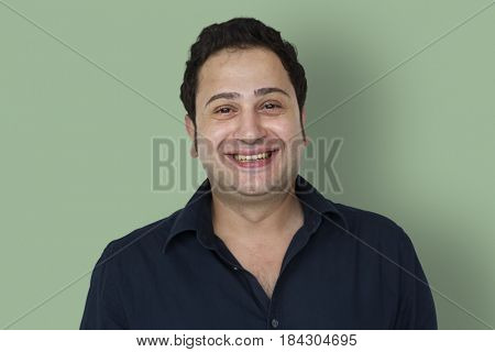 Happiness man smiling studio portrait
