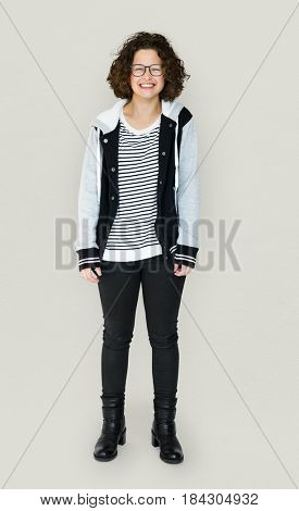 Young Adult with Smile Face Cheerful Studio Portrait