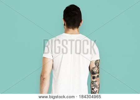 Adult man back side view
