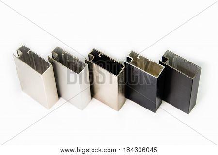 Modern aluminum doors and  windows profiles close up view. Metal doors and windows color sample.