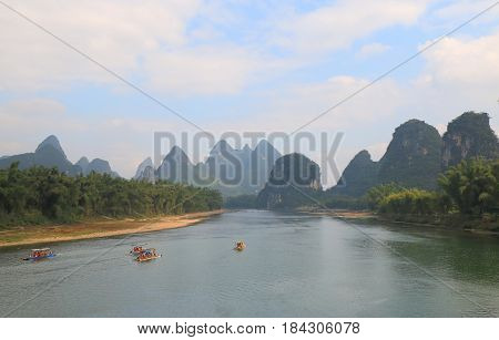 Karst mountain Li river landscape in Yangshou China