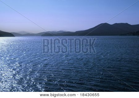 Artificial Songhua Lake on hydro electric power plant north Jilin city in China.