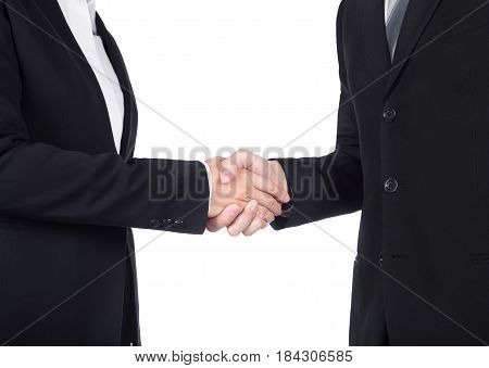shaking hand between businessman and businesswoman isolated on white background