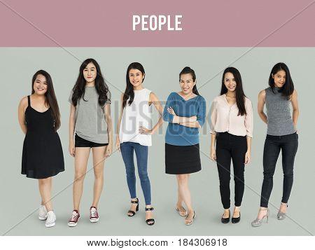 Group of Asian Adult Women People Set Studio Isolated