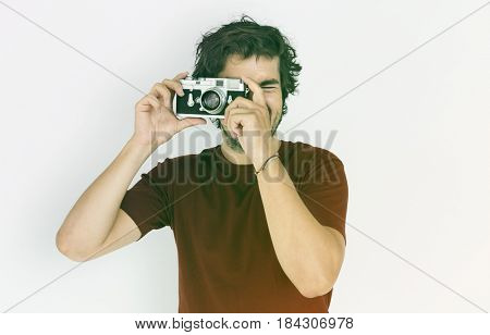 Adult Man Snap Photo Camera Studio Portrait
