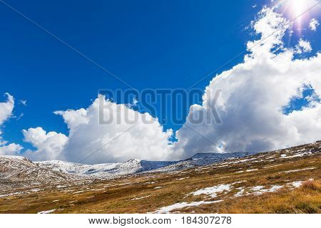 Beautiful White Clouds And Blue Sky Over Snowy Mountains, New South Wales, Australia