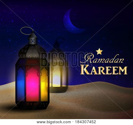 lanterns stand in the desert at night sky with moon vector