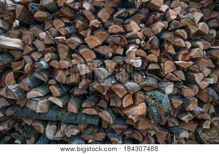 Picture of the firewood stack texture close up. Background of the firewood stack pattern close up