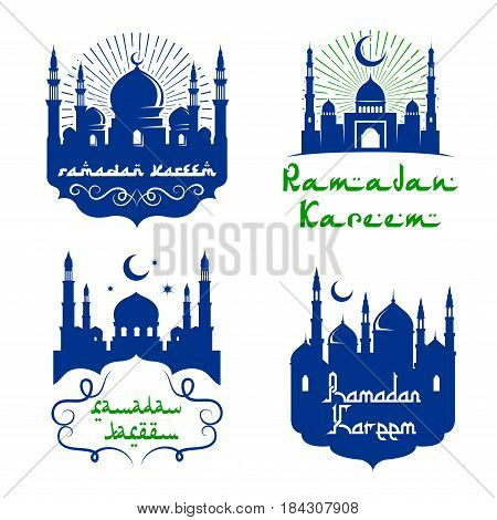 Ramadan Kareem icons. Vector mosque and crescent moon with twinkling stars in blue sky and light rays. Arabic calligraphy text and ornament ribbons for Muslim religious holiday celebration design