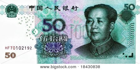 Fifty chinese Renminbi (China mainland Yuan) banknote with Mao portrait