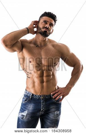 Muscular shirtless man unsure or confused, scratching head with, isolated on white background in studio