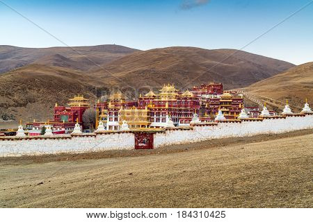 Tibetan monastery on the hill in Litang Sichuan China