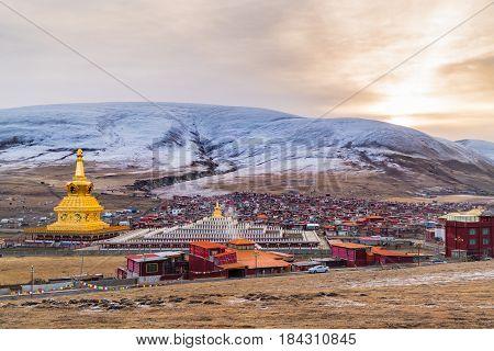 View of Yarchen Gar Monastery in Garze Tibetan Sichuan China