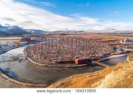 Shacks of monk at Yarchen Gar Monastery in Garze Tibetan Sichuan China
