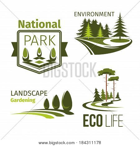Landscape design and eco park symbol set. Green tree, grass lawn and decorative plant isolated badge with ribbon banner for landscaping and gardening service, ecology and environment protection design
