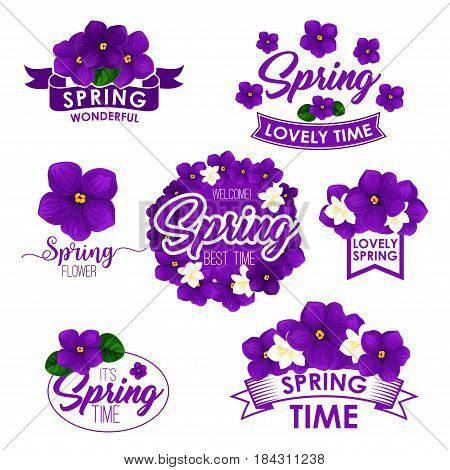Springtime greeting quotes and isolated flowers design. Vector templates for Welcome Spring and Wonderful Spring Time with floral wreath of violets or blooming crocuses and orchid blossoms
