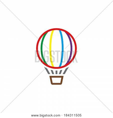 Hot Air Balloon Line Icon, Outline Vector Logo, Linear Pictogram Isolated On White, Color Pixel Perf
