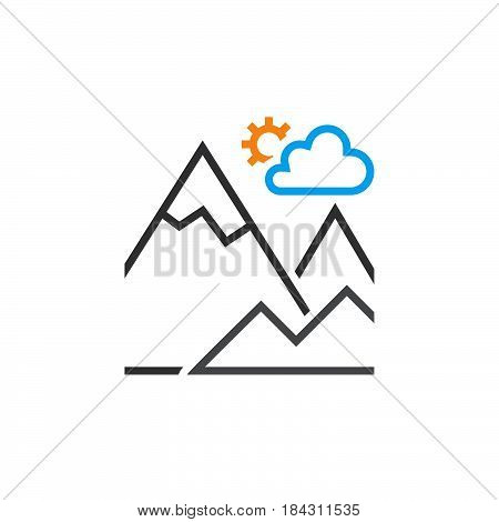 Mountain Line Icon, Outline Terrain Vector Logo, Linear Pictogram Isolated On White, Color Pixel Per