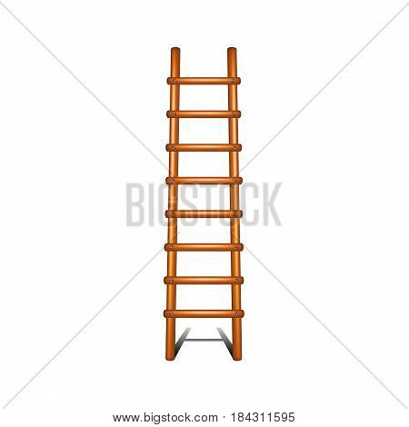 Wooden ladder with shadow leading up on white background