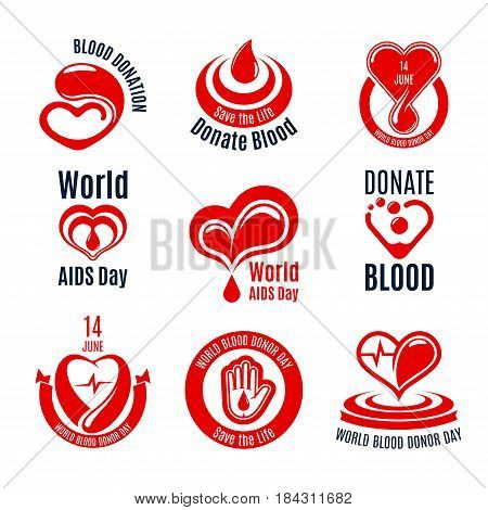Blood donation icon set. Red heart with drop of blood and heartbeat line, support hand with ribbon banner isolated symbol for health care, Blood Donor Day and World AIDS Day themes design